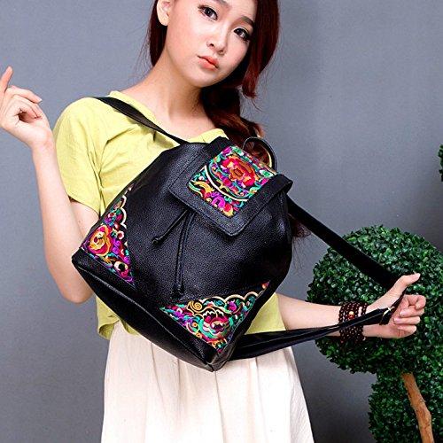 Vento nazionale spalla pack zaino borsa ricamato Vacchetta Academy vento borse donna, nero Black