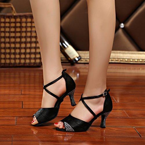 Miyoopark, Scarpe da ballo donna Black-7.5cm Heel