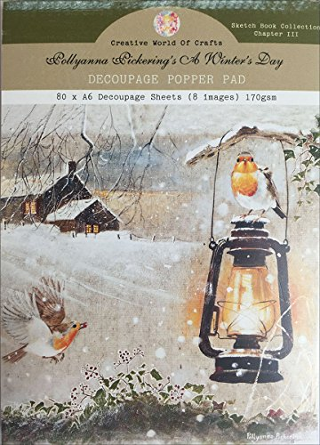 Creative World of Crafts Decoupage Pad A6 80/Pkg-A Winter's Day, Ch 3, 8 Designs/10 Each -