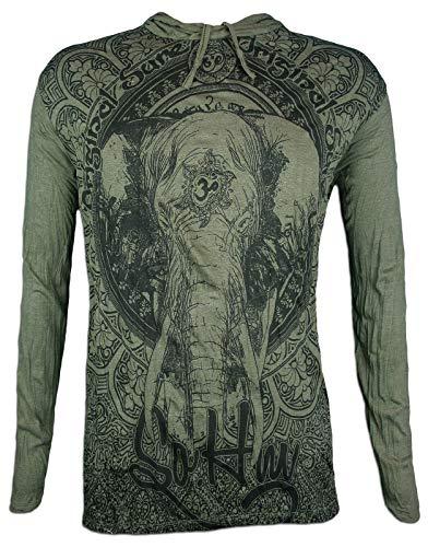 Sure Camiseta con Capucha Hombre Om Ganesha - El Dios Elefante Talla M L XL India Hinduismo Buda Yogi (M, Ejercito Verde)