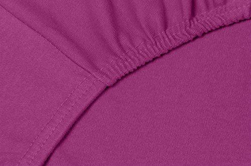 Double Jersey - Spannbettlaken 100% Baumwolle Jersey-Stretch bettlaken, Ultra Weich und Bügelfrei mit bis zu 30cm Stehghöhe, 160x200x30 Aubergine - 5