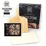Dolce Mare® Piastra refrattaria Forno - Pietra per Pizza in Cordierite di Alta qualità per Forno e Grill - Pala per Pizza Inclusa (Beige)