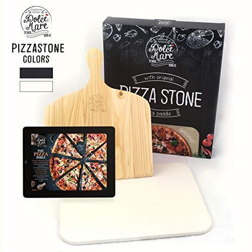 DOLCE MARE Pizzastein Beige - Pizza Stein aus hochwertigem Cordierit für den Backofen & Grill - Backstein für knusprige Pizza wie beim Italiener - Inkl. Pizzaschieber - Brotbackstein   Backstein