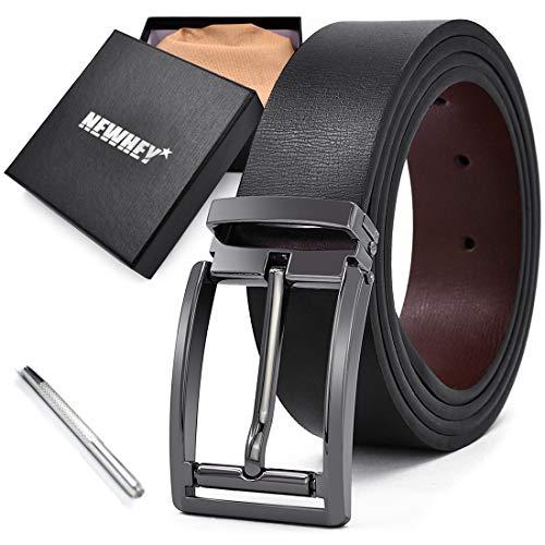 NEWHEY Cinturon Hombre Cuero Piel Hebillas Jeans Reversible Trabajo Traje. 77111ca72eab