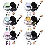Demarkt 6pcs / 2g caja del brillo del clavo del polvo de uñas brillante del espejo del maquillaje del polvo del arte DIY Chrome Pigmento