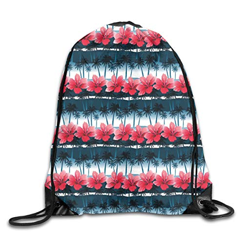 GONIESA Fashion New Drawstring Backpacks Bags Daypacks,Tropical Hibiscus Flowers with Palm Tree Silhouettes Pattern,5 Liter Capacity Adjustable for Sport Gym Traveling Palm T 5 Fall
