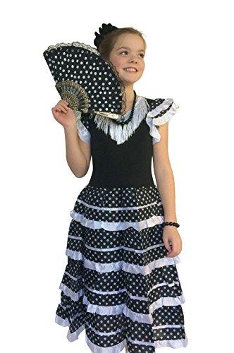 La Señorita Spanische Flamenco Kleid / Kostüm - für Mädchen / Kinder - Schwarz / Weiß (Größe 140/146 - Länge 95 cm- 9-10 Jahr, ()