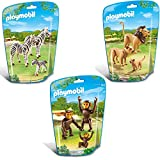 PLAYMOBIL City Life Big Zoo 3 piece animal set 6641 6642 6650 zebra family + lion family + two chimpanzees with baby