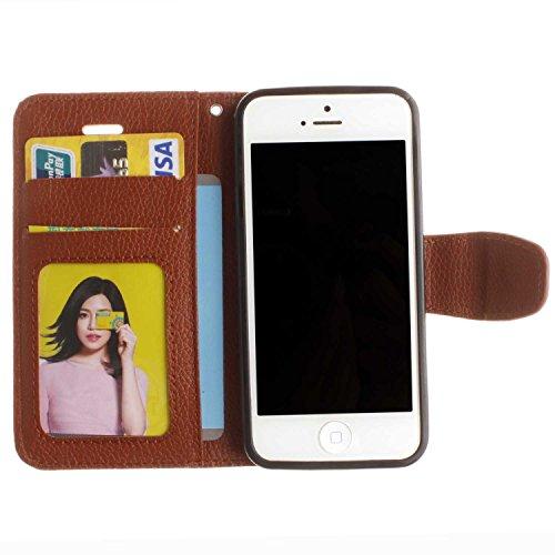 """Portefeuille Coque Pour iPhone SE [4""""], 5S/5 Case Violet Avec Béquille D'insertion de carte Faux cuir Sangle Série AOFad P134E 7C610 7C607+Brown"""