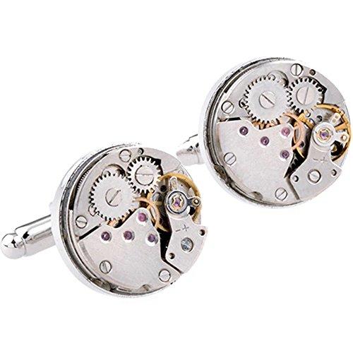 Tri-Elt 1 Paar Herren Vintage Steampunk Mechanische Uhr Design Rund Manschettenknöpfe Männer Edelstahl Uhrwerk Watch Armbanduhr Manschetten Knöpfe Silber
