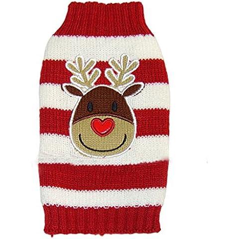 Natale Renna Maglione A Strisce Rosso Bianco Vestiti Caldi Per L