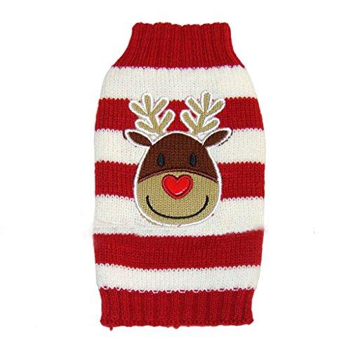 Weihnachten Rentier Rot Weiss Gestreiften Pullover Warme Kleidung Fuer Hunde M