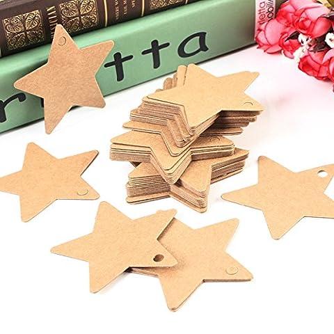 Tutoy 50pcs cinq étoiles papier étiquette Kraft Paper Hanging Tags cadeau de noces