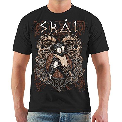 Sons of Odin Männer und Herren Tshirt Skal Met & Trinkhörner (mit Rückendruck) Größe S - 8XL