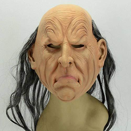 AIYA Halloween Ghost Festival Maskerade Nachtclub Party Latex Schwarze Perücke Simulation Angry Old Man Mask (Ghost Gent Für Erwachsenen Kostüm)