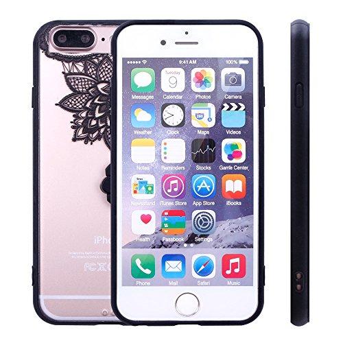 iProtect Hardcase mit Ring Halter Marmor Design Schutzhülle in Schwarz mit Fingerhalterung für Apple iPhone 7 Plus Lotus Skizze