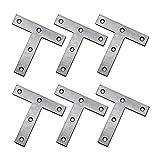 OUNONA 10pcs Patte d'assemblage en forme de T Plaque de Fixation en acier inoxydable Equerre Réparation Support 80mm*80mm