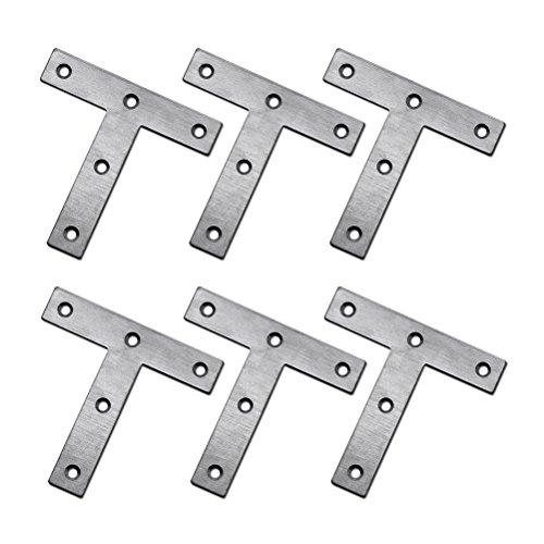 WINOMO 10stk T-Form aus Stahl Ecke spitzen Klammern Klammer fest Platte Connector Reparatur Blatt -