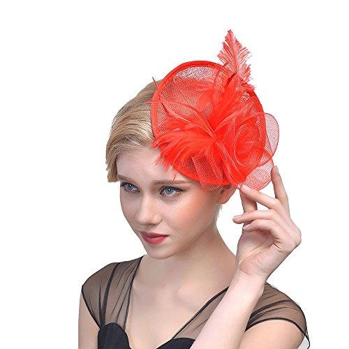 Likecrazy Damen Fascinators Hut Hochzeit Accessoires Tanzparty Cocktail Tea Headwear für Damen und Frau 20er 50er Jahre Hüte Haarreif Kopfschmuck mit Federn