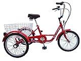Dreirad für Erwachsene - 20 Zoll 3-Gang Rot - mit Rücktritt Bremse, Korb und Fahrradglocke