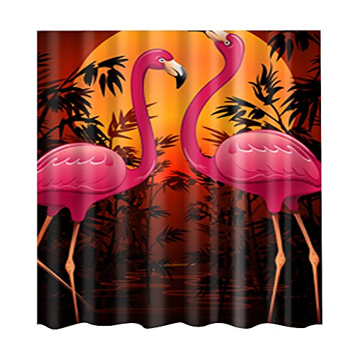 ELECTROPRIME Bathroom Extra Long Fabric Flamingo Bath Shower Curtain with 12 Hooks #7