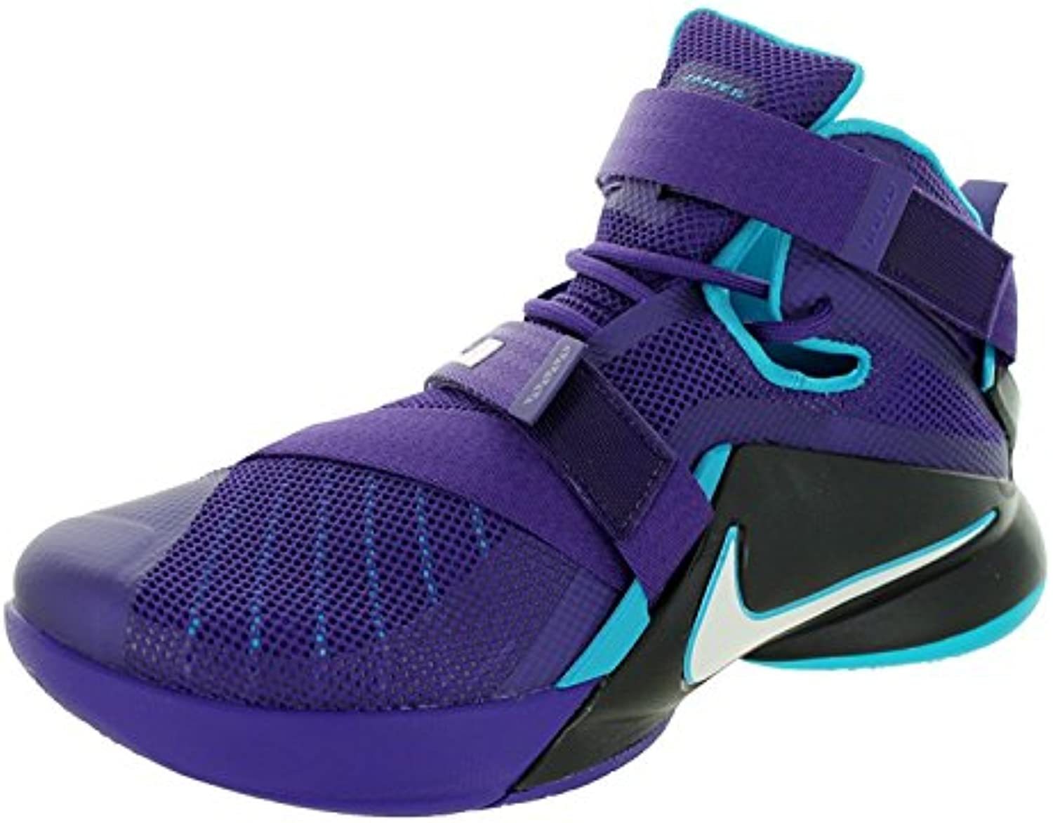 Nike Men's Lebron Soldier IX Basketball Shoe  Court Purple/White/Blk/BL Lgn  45.5 D(M) EU/10.5 D(M) UK