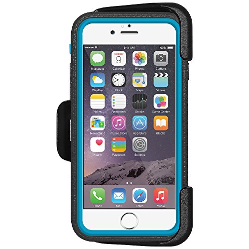 Amzer Crusta edge2edge Rugged Shell Case Cover mit Tempered Glas und Holster für iPhone 6Silber/Gold _ P Schwarz, Blau