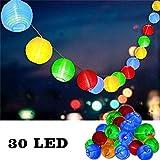 Uping Guirnalda Luminosa LED | 30 Farolillos 4.35 m | Funciona Con Pilas | 8 Modos+Función Temporizador | Resistente al Agua IP65 |Decoración Exterior yInterior para Fiesta/Boda/Ceremonia/Jardín/Casa (Multicolor)
