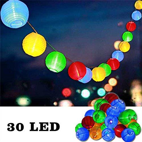 Uping Catena di Lampadine a 30 Luce a LED a Strisce Lanterna 30 LED a Batteria | Luci fatate 8 Modalità a 6 Metri | per Esterno all'Aperto Giardino | Multicolore