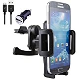 NessKa® Premium Auto Handy Lüftungshalterung mit Ladefunktion / Ladegerät USB Ladekabel + KFZ Adapter für Samsung Galaxy S7 / S7 Edge / S6 / S6 Edge / Edge+ / S5 / S5 Neo / S4 / S3 / Mini / Active / Note 1 2 3 4 5 / ATIV / Duos / Ace / Express / Grand / Prime / A3 / A5 / A3 2016 / A5 2016 / A7 / A9 / J1 / J3 / J5 / Xcover / Pocket