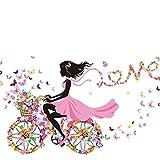 Oyedens Mädchen Schmetterling Blumen-Fee Aufkleber Schlafzimmer Wohnzimmer Wände