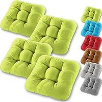 Gräfenstayn® set de 4 cojines de asiento cojín de silla 40x40x8cm para interior y exterior - funda de algodón 100% - diferentes colores - acolchado grueso cojín acolchado / cojín de suelo (verde manzana)