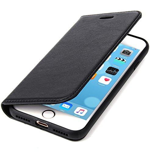 """CoinKeeper Echt Ledertasche """"TANK"""" Apple iPhone 7 / 8 Hülle Leder Schwarz RUNDUMSCHUTZ Kartenfach Magnetverschluss Standfunktion extra Dünn Tasche Premium Design (Tasche Schwarz 7)"""