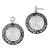 Black Bow Jewellery Company: Due tonalità di colore, 27 mm, sagoma circolare Orecchini pendenti in argento Sterling
