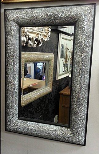 Premierinteriors Crackle Schleife Design Wand abgeschrägten Spiegel schwarz Rahmen Mosaik Glas 90x 60cm -