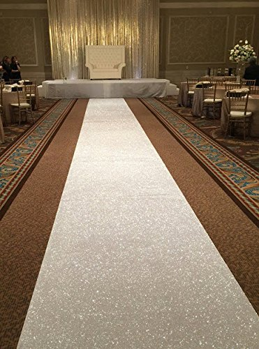 ShinyBeauty 3 ftx15ft-aisle Runner Wedding-Gold Sparkly Teppich Läufer für Hochzeit/Weihnachten/Thanksgiving Decor (90 x 450 cm), elfenbeinfarben, 3FTX15FT
