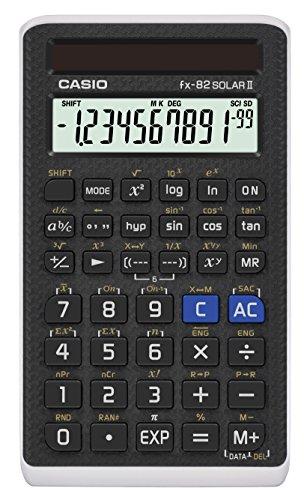 Casio FX-82SOLARII Standard-Schulrechner mit Solarbetrieb und Hardcase
