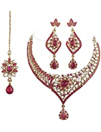 I Jewels Traditional Gold Plated Kundan Necklace Set With Maang Tikka For Women(Rani/Dark Pink)(K7047Q)