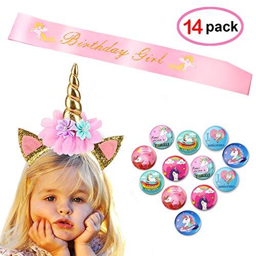 Konsait Einhorn Geburtstag Mädchen Set (14pack), Gold Glitter Einhorn Stirnband mit Geburtstag Mädchen Schärpe und Einhorn Buttons Anstecker für Kindergeburtstag Geschenke