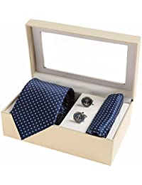 Sir Michele Designer Navy Blue Micro Silk Tie, Pocketsquare and Cufflink Set for Men (Pack of 3)