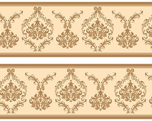 """Kleisterbordüre """"Barockmuster"""", 4-teilig 520x15cm, Tapetenbordüre, Wandbordüre, Borte, Wanddeko,beige , gelb"""