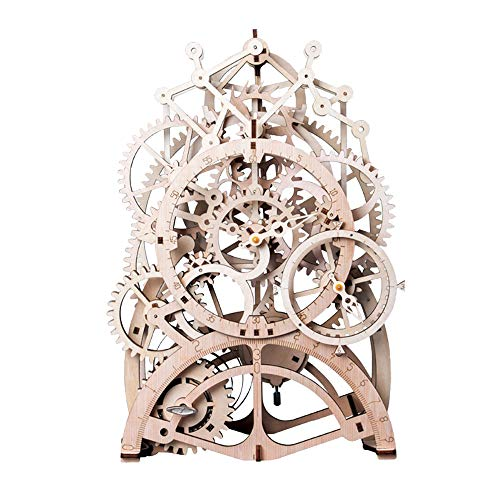 ROBOTIME 3d Wooden Puzzle Laser-cut - Building Clock Construction Kit - Mechanical Model Building Gift for Boyfriend or Husband on Birthday / Anniversary / Valentine's Day / Christmas (Pendulum Clock)