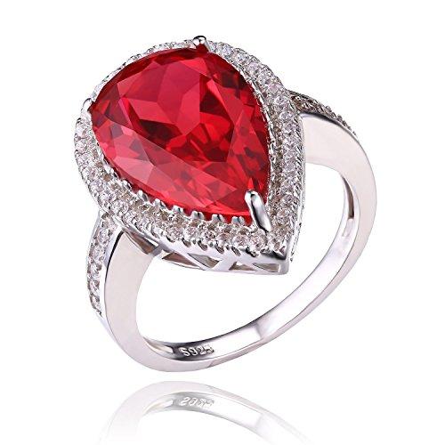 JewelryPalace Lusso taglio della pera 7ct Creato rosso rubino solido argento 925 anello di fidanzamento