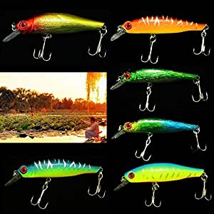 Stone H Lot 6pcs Minnow Fishing Lures Sinking Rattles Eco Baits 8.5cm 3.35¡å 8.9g