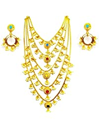 Sparkle Jewels Golden Color Alloy Multistrand Necklace Set For Women