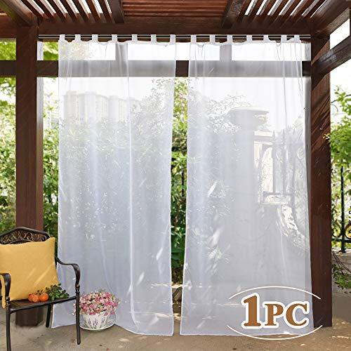 PONY DANCE Voile Gardinen Weiss Outdoor - Voile Vorhang Transparent Gardinenschals Garten/Balkon Stores Vorhänge Wasserabweisend Schlaufenvorhang, 1 Stück H 274 x B 137 cm