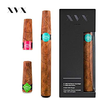 XVX CIGAR \ Electronic Cigarettes \ Rechargeable e Cigar \ Includes Prefilled Flavour Cartridges \ Apple \ Mint \ Cigar \ 900 Puffs Per Cartridge \ USB Charger & Flavour Changing \ E Cigarette Shisha by XVX