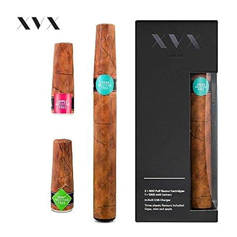 XVX CIGAR \ Elektronische Zigarre \ Enthält Vorbefüllte Aroma Patronen \ Apfel \ Minze \ Zigarre \ 900 Züge Pro Patrone\ USB-Ladegerät & Aroma-Wechsel \ Alternative Zu E-Zigarette oder E-Shisha \ Digitaler Rauch \ Nikotinfrei \ Tabakfrei
