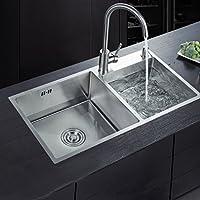Auralum 78×43×22cm Küchenspüle aus Gebürstetem Edelstahl 2 Becken Einbauspüle,2 Montagelöcher