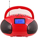 August SE20 - Mini Système Stéréo MP3 Bluetooth - Radio Portable avec Haut-Parleur Bluetooth Puissant - Radio Réveil FM avec Lecteur de carte SD, de clé USB et Port Auxiliaire (Micro USB) - Enceinte Stéréo 2 x 3W avec Batterie Rechargeable (Rouge)
